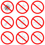 Pest and insect control, icons set. Tick and cricket, bug and ant, fly and cockroach, colorado beetle and mosquito Stock Photos