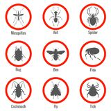 Pest and insect control, vector icons set Royalty Free Stock Images