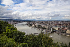 Pest. North view of Pest bank of the Danube river, Budapest, Hungary Stock Photo