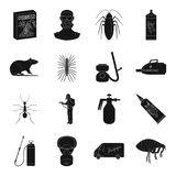Pest, poison, personnel and various equipment black icons in set collection for design. Pest control service vector Stock Image