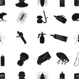 Pest, poison, personnel and various equipment black icons in set collection for design. Pest control service vector Stock Photography