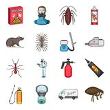 Pest, poison, personnel and various equipment cartoon icons in set collection for design. Pest control service vector Stock Images