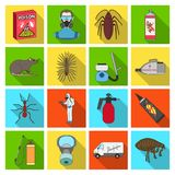 Pest, poison, personnel and various equipment flat icons in set collection for design. Pest control service vector Stock Image