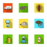 Pest, poison, personnel and various equipment flat icons in set collection for design. Pest control service vector Stock Photography