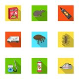 Pest, poison, personnel and various equipment flat icons in set collection for design. Pest control service vector Royalty Free Stock Photos