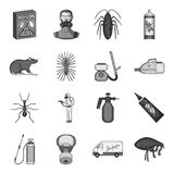 Pest, poison, personnel and various equipment monochrome icons in set collection for design. Pest control service vector Royalty Free Stock Photography