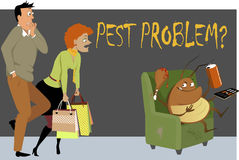 Pest problem?. Shocked couple caught a giant cockroach sitting in a chair in their house, eating, drinking and watching TV, as a metaphor for a pest problem, EPS Royalty Free Stock Photos