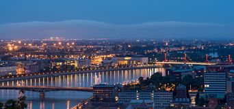 Pest side of Budapest cityscape, night view