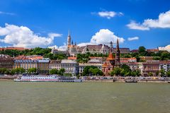 From Pest view on Buda. From Pest view of Buda on the left Danube bank with the Buda Castle Royalty Free Stock Images
