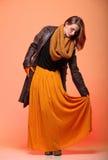 Pestañas frescas de la muchacha de la mujer de la moda del otoño Imagen de archivo libre de regalías