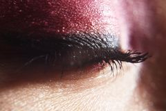 Pestanas naturais, pestanas reais longas Vista ascendente próxima do olho fêmea bonito com pestanas, pele saudável lisa eyelash imagem de stock