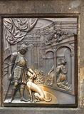 Peste bronzea Charles Bridge Prague Landmark Fotografia Stock Libera da Diritti