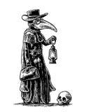 Peste, medico con la maschera dell'uccello, la valigia, la lanterna, l'aglio ed il cappello incisione Fotografia Stock Libera da Diritti