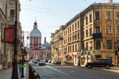 Pestel街道的看法在SPb的中心 免版税库存照片