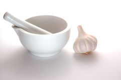 Pestel and Mortar with Garlic Stock Images