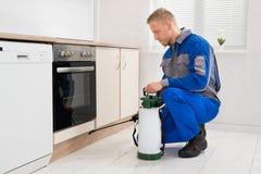 Pesticide de pulvérisation d'homme dans la chambre de cuisine photo stock