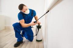 Pesticide de pulvérisation de travailleur sur le coin de fenêtre Images libres de droits