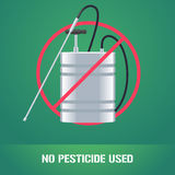 Pesticide sprinkler in prohibition sign vector illustration Royalty Free Stock Image