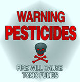Pesticide warning. Symbol with the skeleton Stock Images