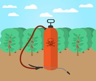 Pesticides and chemicals used on coffee farms royalty free illustration
