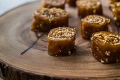Pestil, Cevizli Sucuk, orzech włoski owoc braja/ zdjęcia stock