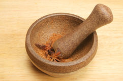 Pestle And Mortar With Ground Spice Stock Image