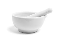 Pestle and Mortar. On White Background Stock Photos