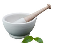 Pestle and Mortar with Bay Leaves royalty free stock image