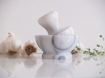 Pestle and Mortar with garlic and thyme herb Stock Photo