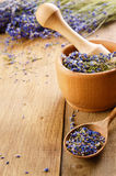 Pestle and mortar with lavender Royalty Free Stock Photos