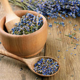 Pestle and mortar with lavender Royalty Free Stock Photo