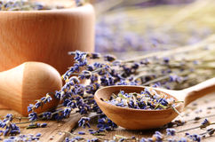 Pestle and mortar with lavender Stock Photography