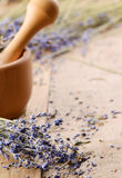 Pestle and mortar with lavender Stock Image