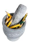 Pestle and Mortar with Pencils Royalty Free Stock Images