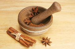 Pestle and mortar with spice Stock Images