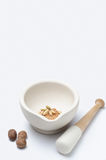 Pestle and Mortar with Spices Royalty Free Stock Photography