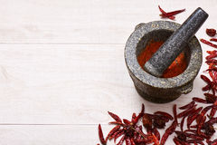 Pestle with mortar, surrounded by dried chili and habanero peppers Stock Photo