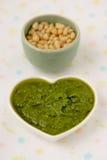 Pesto alla Genovese. Pesto alla Genovese , Basil Sauce.Macro Stock Photo