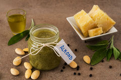 Pesto with almonds and pecorino cheese Royalty Free Stock Photos