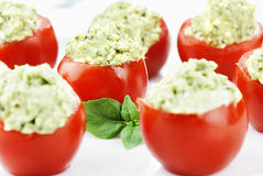Pesto and Avocado Stuffed Tomatoes Royalty Free Stock Photography