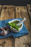 Pesto from basil and nots Royalty Free Stock Image