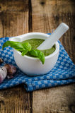 Pesto from basil and nots Stock Image