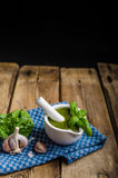 Pesto from basil and nots Royalty Free Stock Images