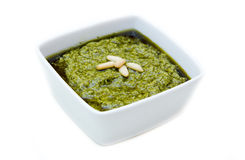 Pesto on bowl Royalty Free Stock Photography