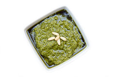 Pesto bowl on top Royalty Free Stock Images