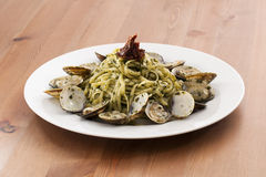 Pesto with Clams. On a table Royalty Free Stock Image