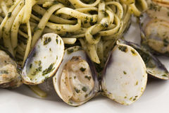 Pesto with Clams. On a table Stock Photo