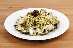 Pesto with Clams. On a table Stock Photography