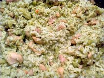 Pesto del riso del pollo Immagini Stock