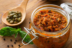 Pesto with dry tomatoes and almonds Stock Photo